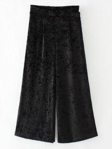 Terciopelo Suelta Pantalones De Pierna Ancha - Negro L