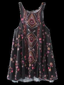 Vintage Impresión Mini Vestido - Negro M