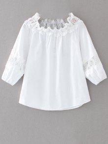 Fuera Del Hombro Blusa De Encajes - Blanco M