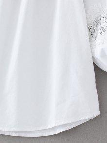 Blusa Del Encajes L De Blanco Hombro Fuera E8RcZqwUw