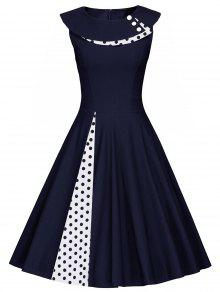 Polka Dot Sleeveless Pleated Line Dress - PURPLISH BLUE XL