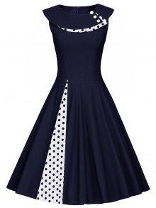 Polka Dot Sleeveless Pleated Line Dress - PURPLISH BLUE L