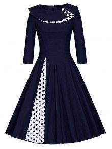 Pleated Polka Dot Swing Line Dress - PURPLISH BLUE M