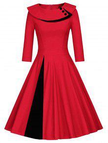 مطوي اللون كتلة ألف خط اللباس - الأحمر مع الأسود M