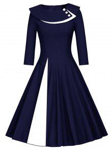 Pleated Color Block Line Dress - BLUE AND WHITE M