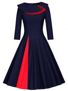 Pleated Color Block Line Dress - PURPLISH BLUE M