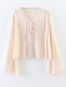 Lace-Up Cut Out Blouse - Pink S