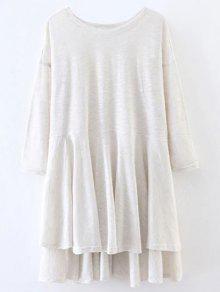 T-shirt Haut Bas Long Fendu  - Blanc Cassé S