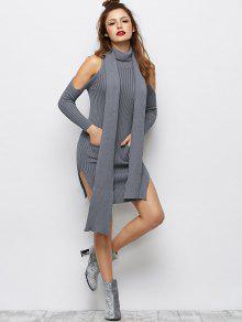 pullover kleid mit schlitz und kalter schulter grau strickkleider m zaful. Black Bedroom Furniture Sets. Home Design Ideas