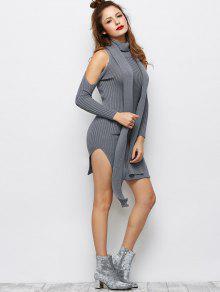 pullover kleid mit schlitz und kalter schulter grau. Black Bedroom Furniture Sets. Home Design Ideas