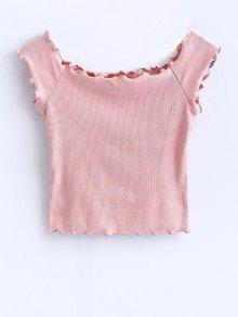 Off Shoulder Ruffles Crop Top - Pink S