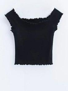Off Shoulder Ruffles Crop Top - Black S