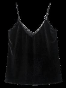 Buy Lace Panel Outerwear Tank Top M BLACK