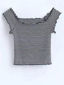 Off Shoulder Ruffles Striped Crop Top - Stripe M