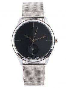 كوارتز ساعة مع الفولاذ واتشباند - أسود