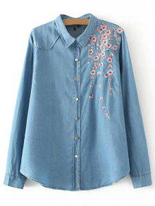 Palm Blossom Embroidered Plus Size Denim Shirt - Denim Blue Xl
