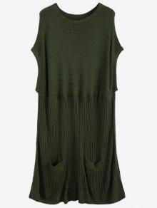 Côtelé à Manches Courtes Poncho Sweater - Vert Armée L