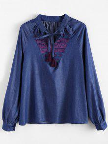 Embroidered Bib Denim Blouse - Denim Blue L