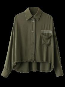 High Low Frayed Hem Shirt - Vert Armée M