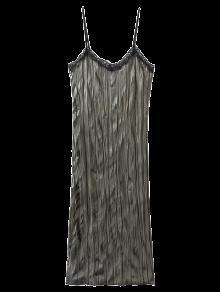 Vestido De Resbalón De Terciopelo Arrugado - Gris Oliva M