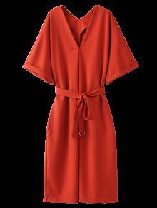 Tie Waist Kimono Sleeve Work Dress - Jacinth M