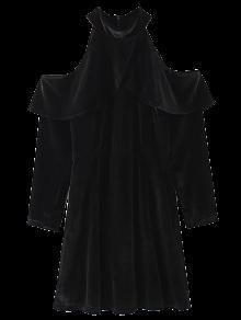 Cold Shoulder Volantes Vestido De Terciopelo - Negro L