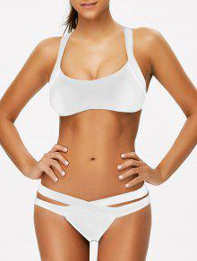 Strappy Bandage Scoop Bikini - White M