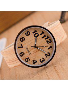 Reloj Grano Cuarzo Madera Cuero Sintético - Beis
