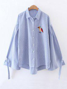 Embroidered High-Low Striped Shirt - Blue M