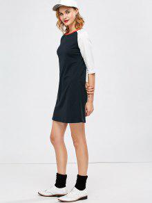 Raglan Sleeve Tunic T-Shirt Dress - Purplish Blue L