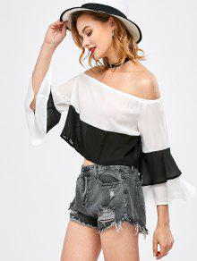 Bell Sleeve Off Shoulder Color Block Blouse - White And Black S