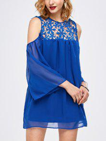 Cold Shoulder Lace Chiffon Tunic Blouse - Blue S