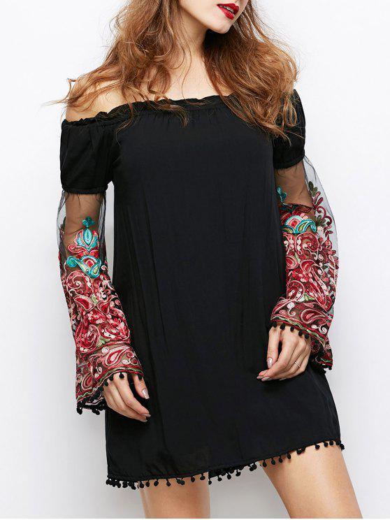 Hombro Vestido de Paisley - Negro M