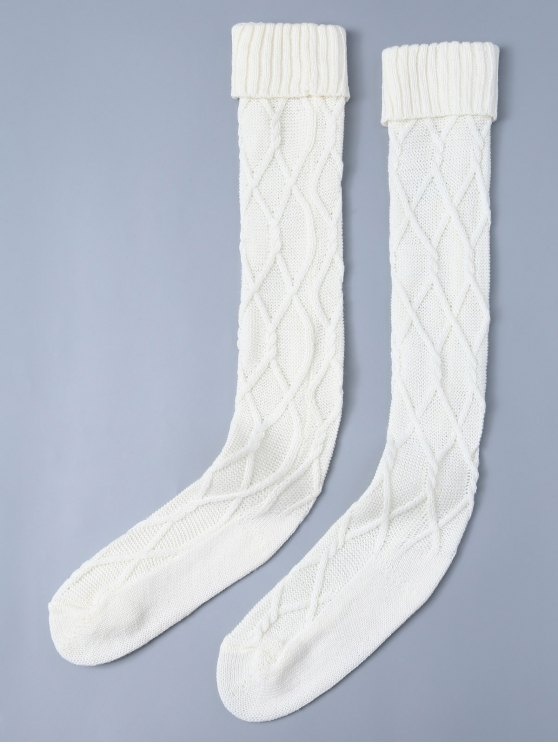 womens Notched Skinny Knitting Stockings - WHITE ONE SIZE