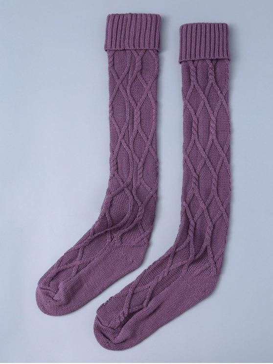 women Notched Skinny Knitting Stockings - PURPLE ONE SIZE