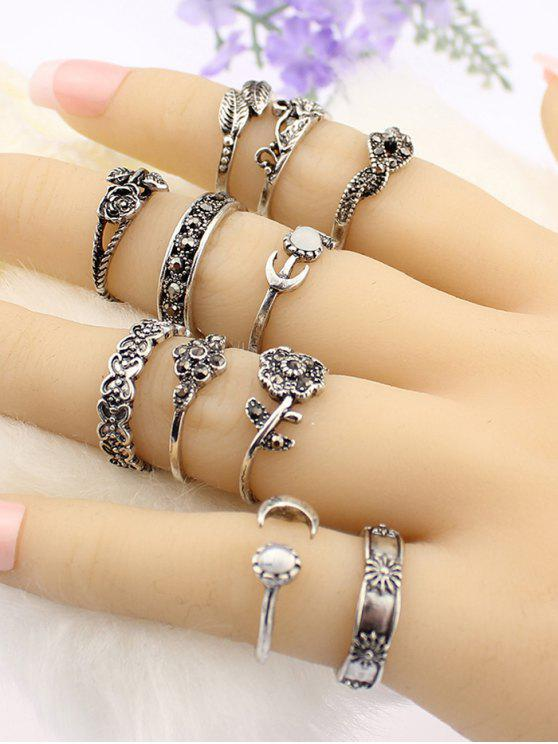 shop Flower Leaf Rhinestoned Jewelry Ring Set - SILVER