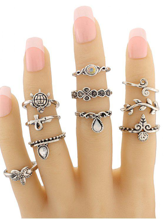 outfit Leaf Tortoise Geometric Jewelry Ring Set - SILVER