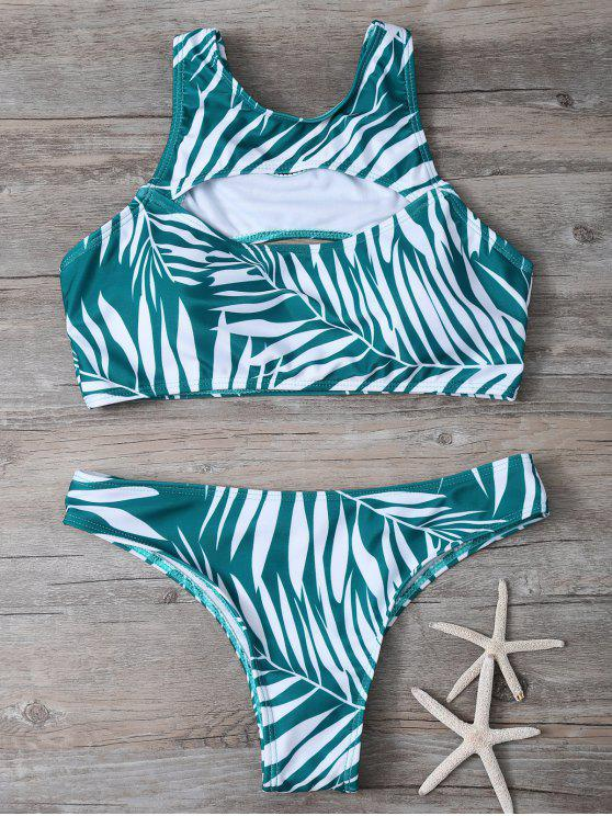 Impresión tropical Recortable Bikini Set - Verde L
