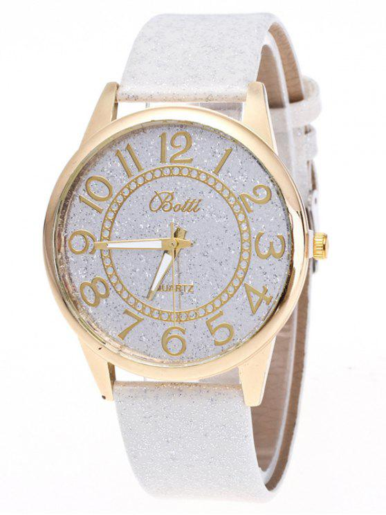 fancy Faux Leather Glitter Number Watch - WHITE