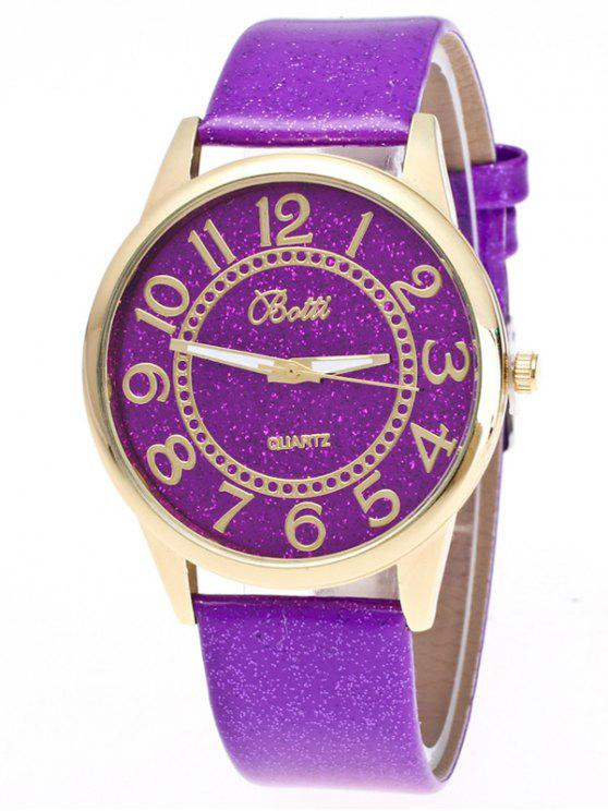 affordable Faux Leather Glitter Number Watch - PURPLE