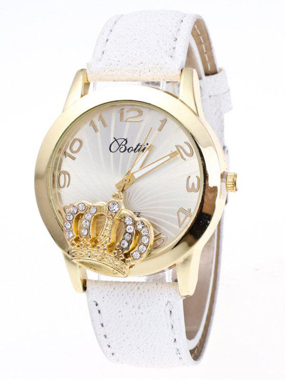 women's Faux Leather Crown Number Watch - WHITE