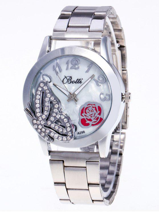 chic Rhinestone Butterfly Number Watch - SILVER