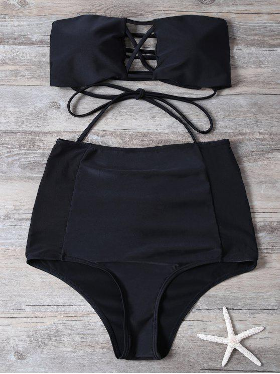 online High Waisted Cut Out Swimsuit - BLACK M