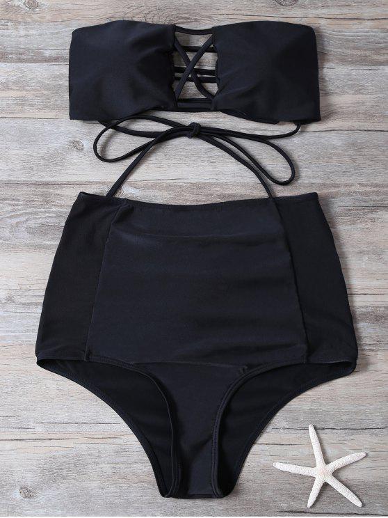 Maillot de bain taille haute - Noir L