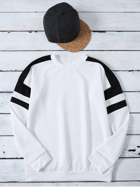 new Casual Color Block Sweatshirt - WHITE M
