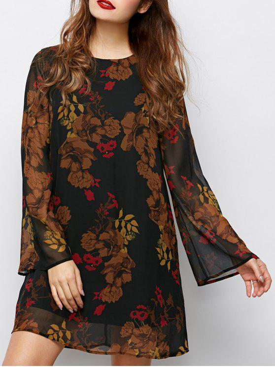 sale Bell Sleeves Printed Dress - BLACK S