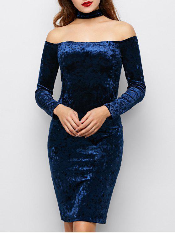 فستان قلادة الرقبة مخملي ضيق - أزرق M