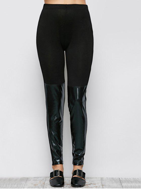 women Tight Fit PU Leather Panel Leggings - BLACK S