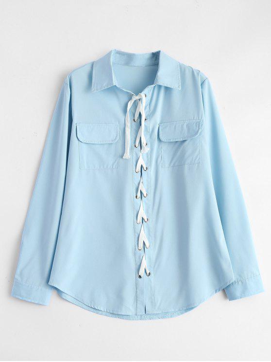 latest Lace-Up Shirt - LIGHT BLUE M