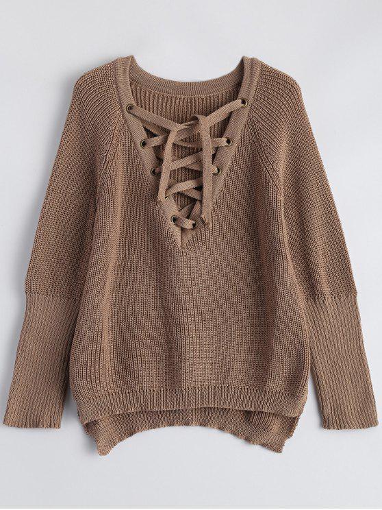 Alto Bajo con cordones de cuello en V suéter - Caqui Oscuro L